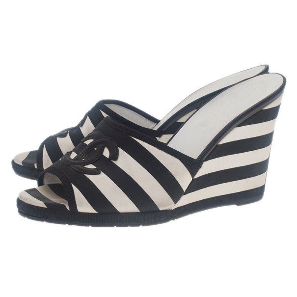 Chanel Black and White Striped Canvas Wedge Slides Size 38