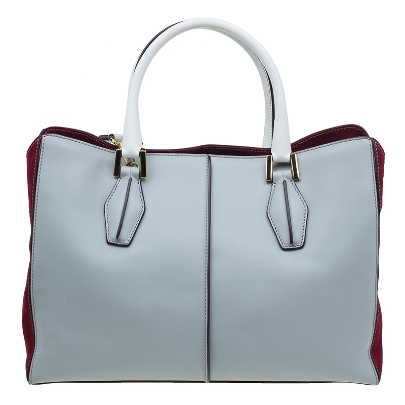 Tod's Grey Bi Color Leather Medium D-Cube Tote Bag