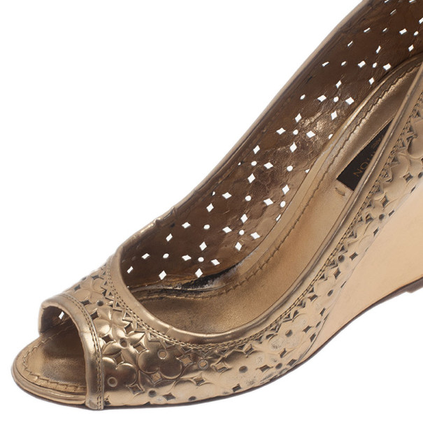 Louis Vuitton Gold Stand By Me Peep Toe Wedge Pumps Size 36.5