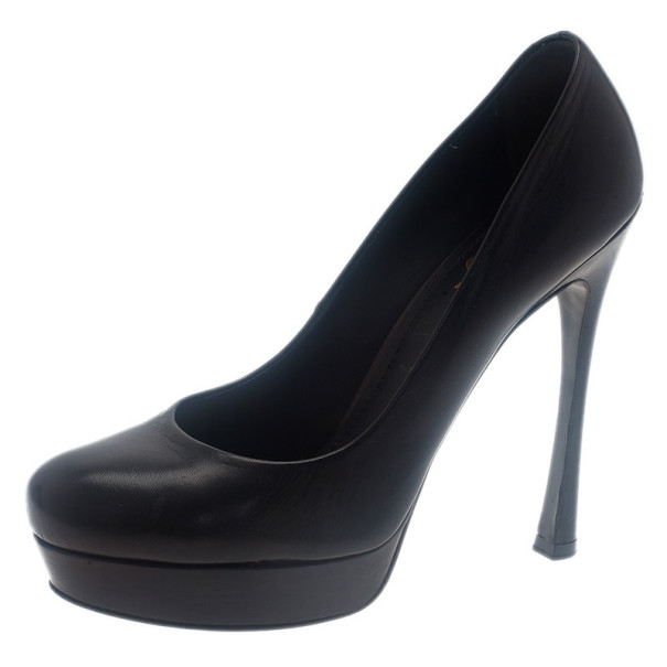 Saint Laurent Paris Black Leather Palais Platform Pumps Size 38.5