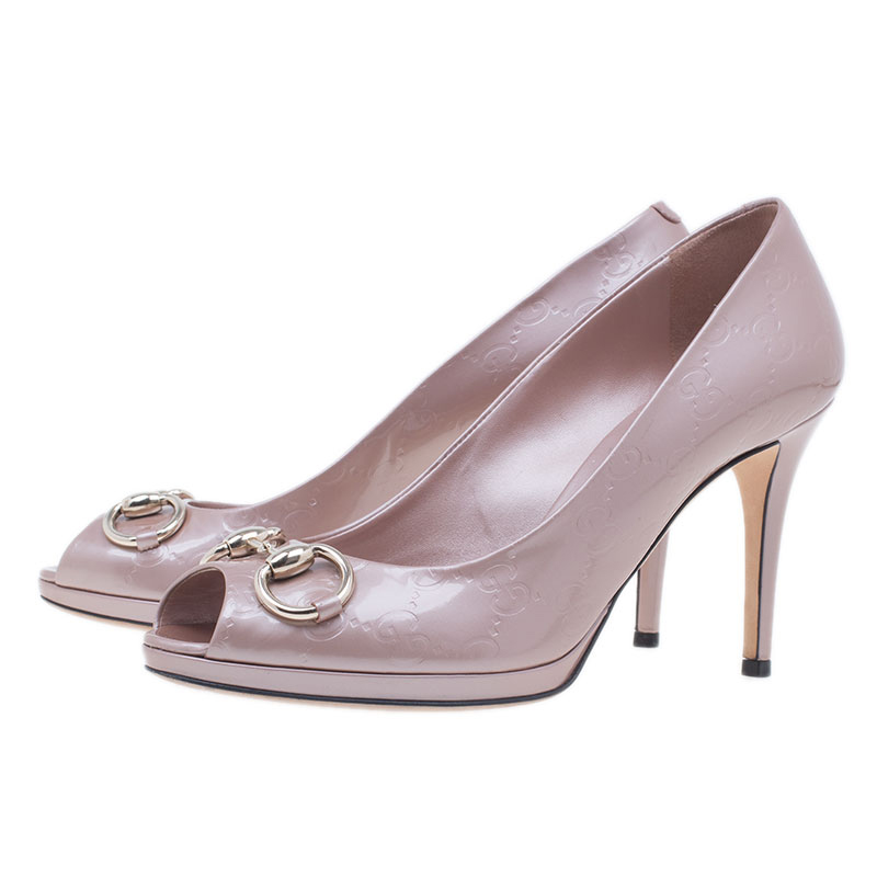 Gucci Pink Metallic Leather New Hollywood Horsebit Peep Toe Pumps Size 38.5
