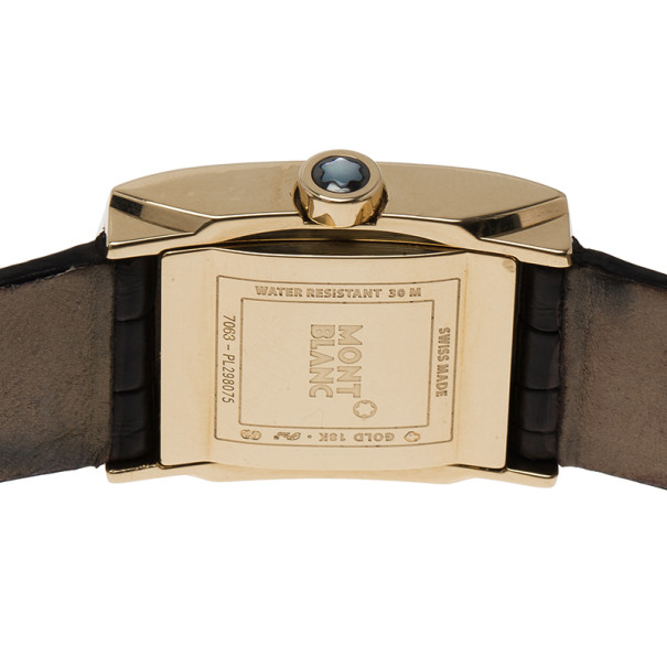 Montblanc White 18k Yellow Gold Profile Women's Wristwatch 36MM