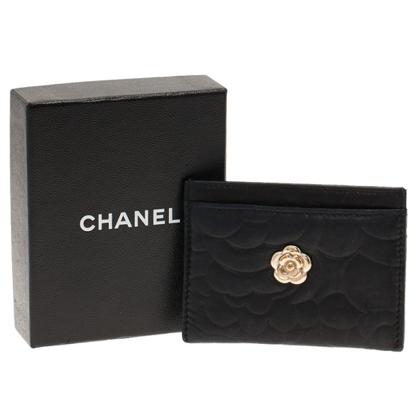 Chanel Black Camellia Embossed Card Holder