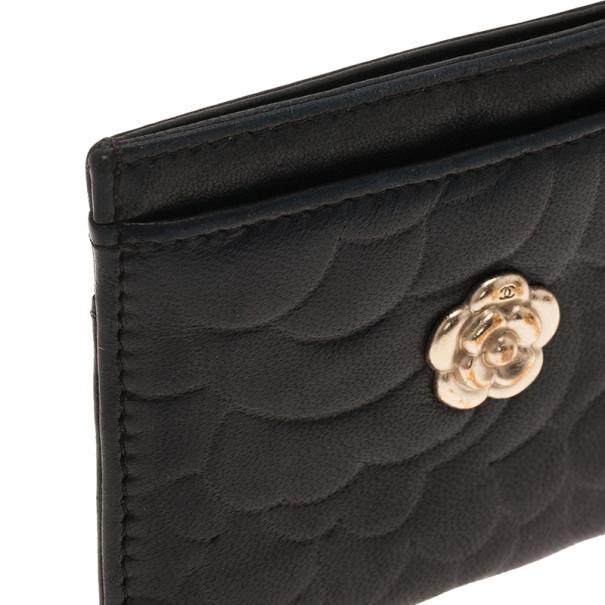 Chanel Black Camellia Embossed Card Holder