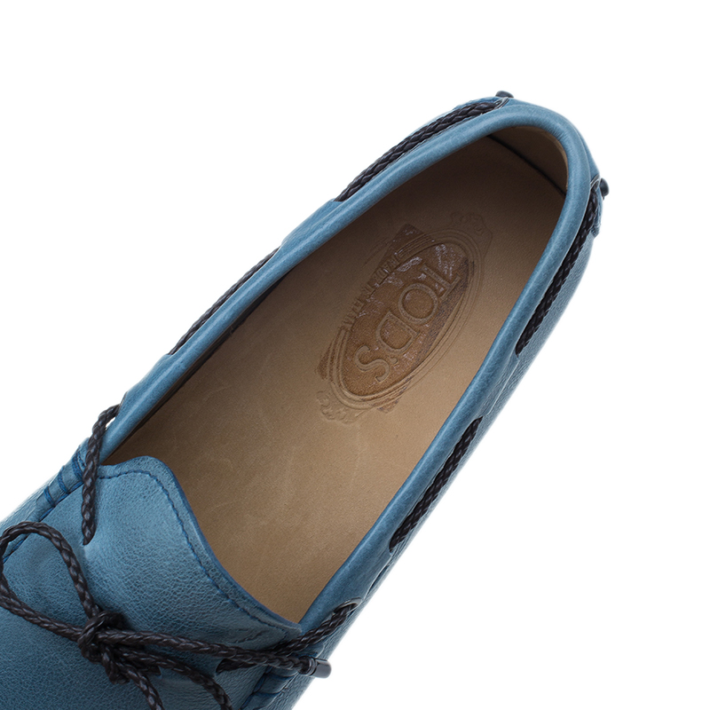 Tod's Blue Leather Bow Loafers Size 43