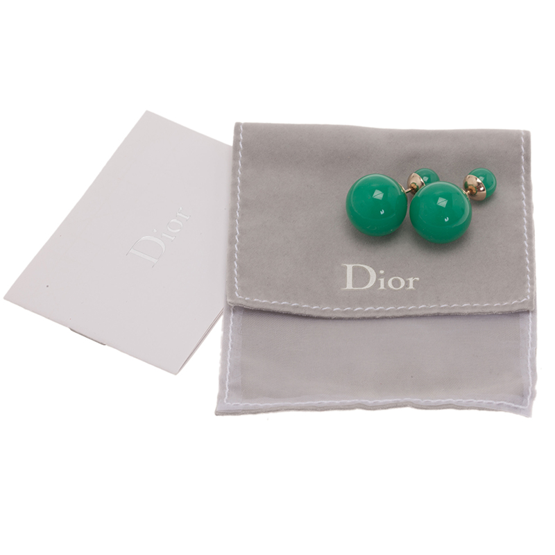 Dior Dior Tribale Green Gold Tone Stud Earrings