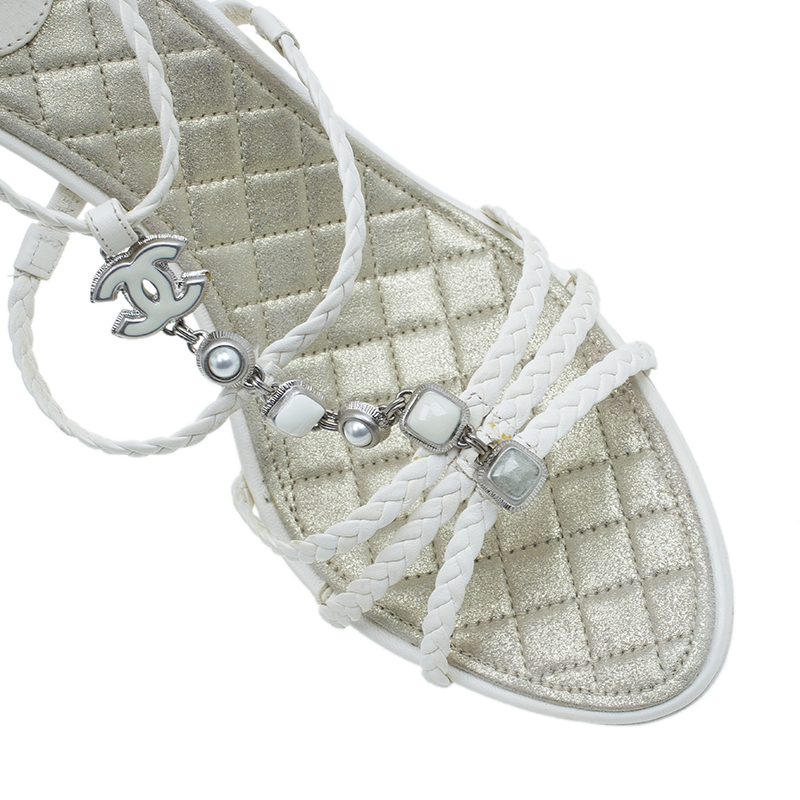 Chanel White Braided Leather CC Strappy Sandals Size 41