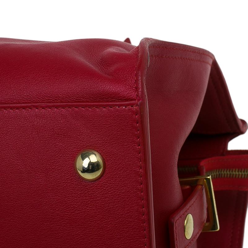 Saint Laurent Paris Red Leather Medium Cabas Chyc Satchel Bag