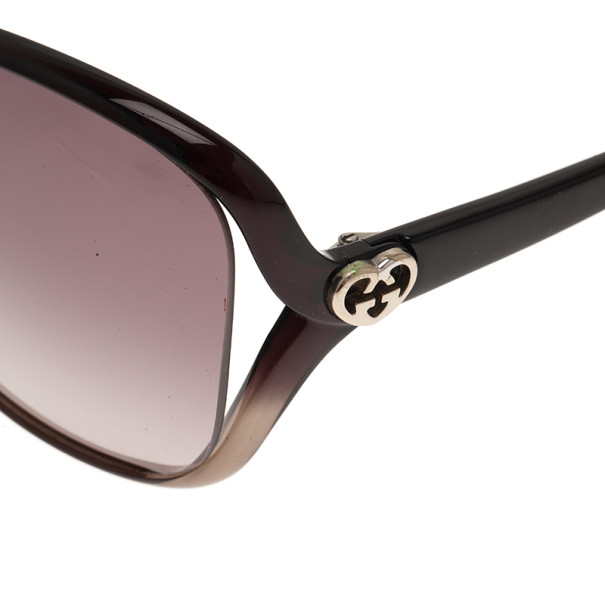 Gucci Black Heart Interlocking G Square Sunglasses