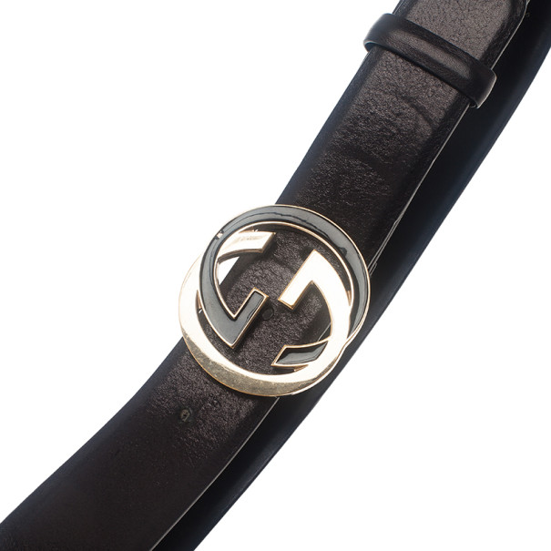 Gucci Black Leather Interlocking G Leather Belt 85CM