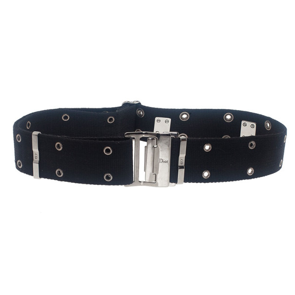 Dior Black Canvas Clasp Belt 70CM