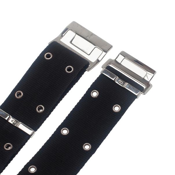 Dior Black Canvas Clasp Belt 70CM