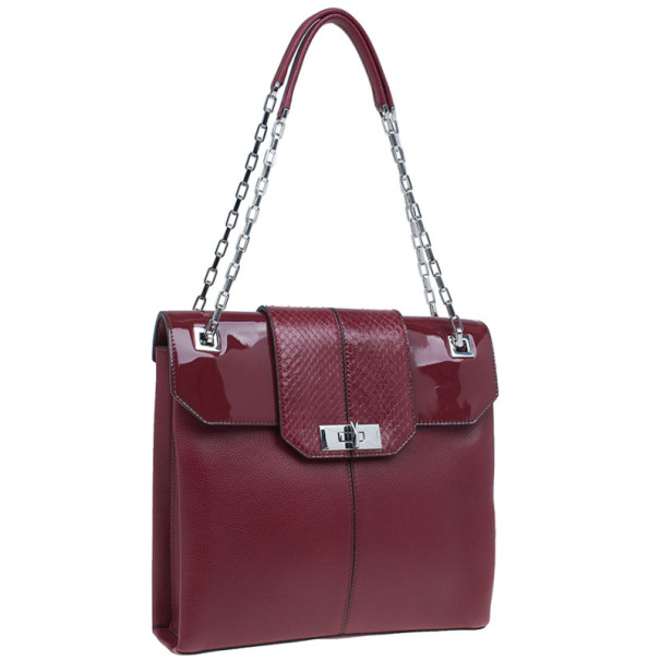 Cartier Red Leather and Patent Feminine Line Chain Bag