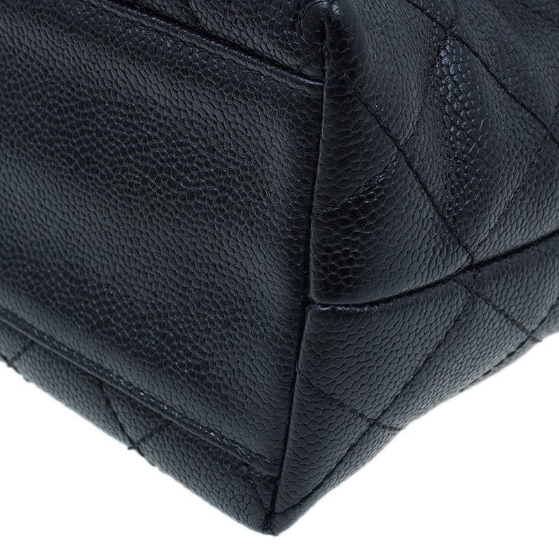Chanel Black Quilted Caviar Leather Jumbo Vintage Kelly Bag