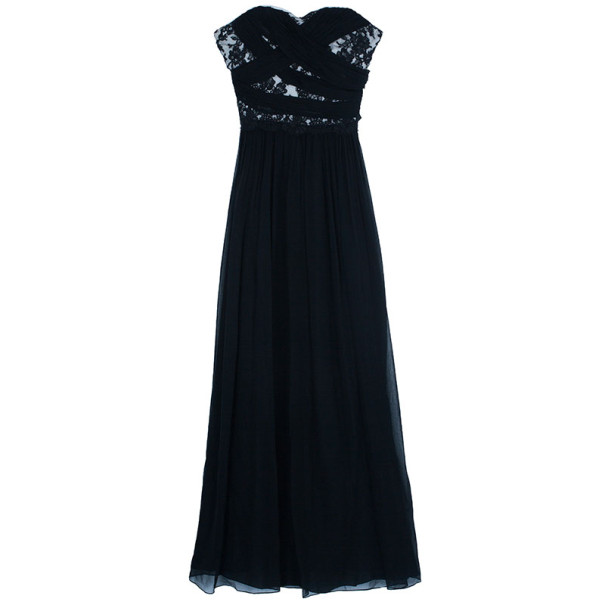 Notte By Marchesa Monochrome Chiffon Ruched Gown L