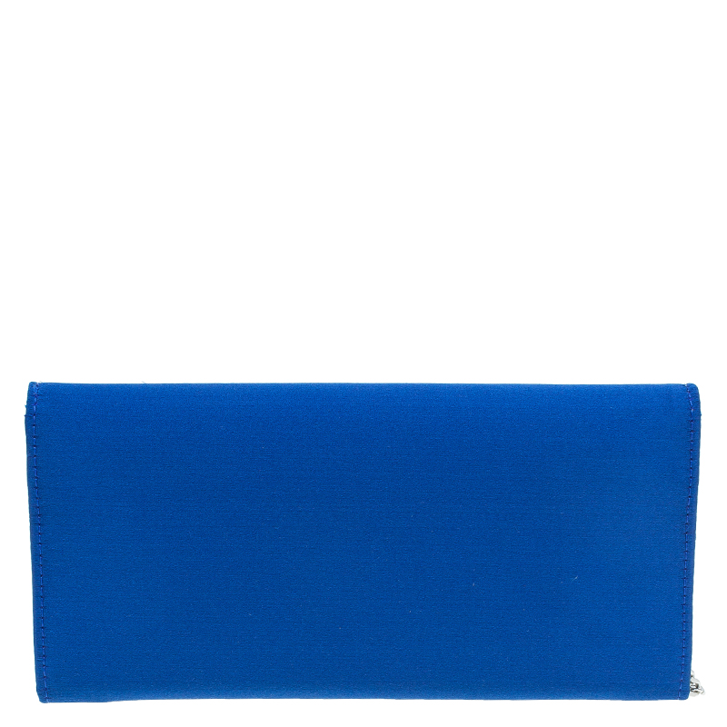 Jimmy Choo Electric Blue Satin Exclusive Milla Chain Clutch