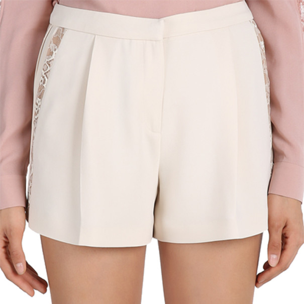 Elie Saab Cream Lace-Detailed Shorts M