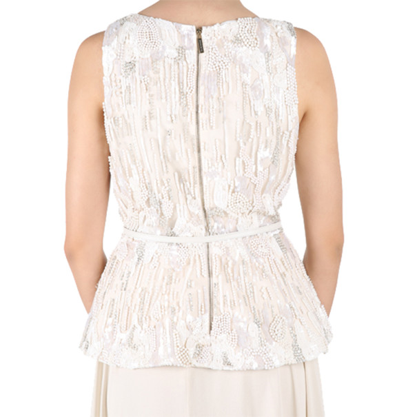 Elie Saab White Embroidered Sleeveless Top M