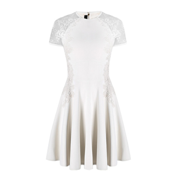 Elie Saab White Lace Short-Sleeved Dress S