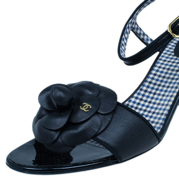 Chanel Black Camellia Leather Sandals Size 39