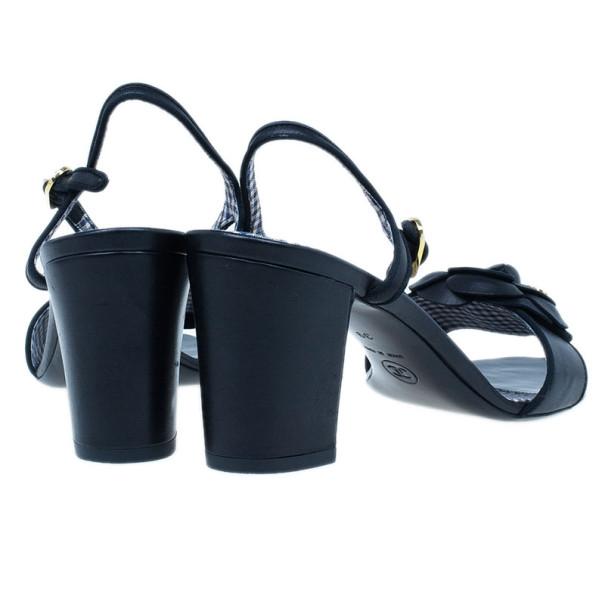 Chanel Black Camellia Leather Sandals Size 39