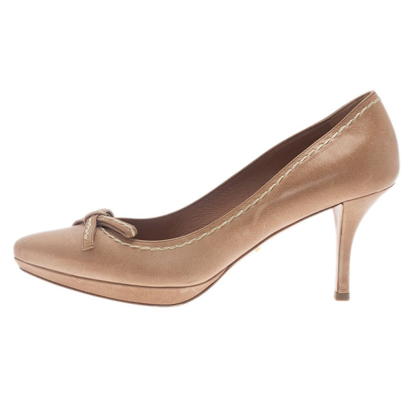 Prada Beige Leather Pointed Toe Bow Pumps Size 39