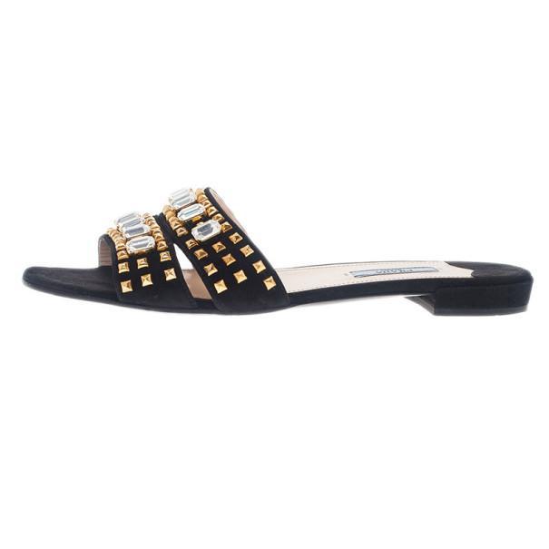 Prada Black Suede Jeweled Flat Slides Size 39.5