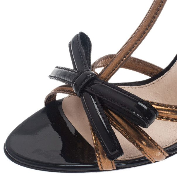Prada Two Tone Patent T-Strap Bow Detail Sandals Size 38