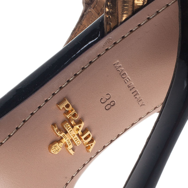 Prada Two Tone Patent T-Strap Bow Detail Sandals Size 38