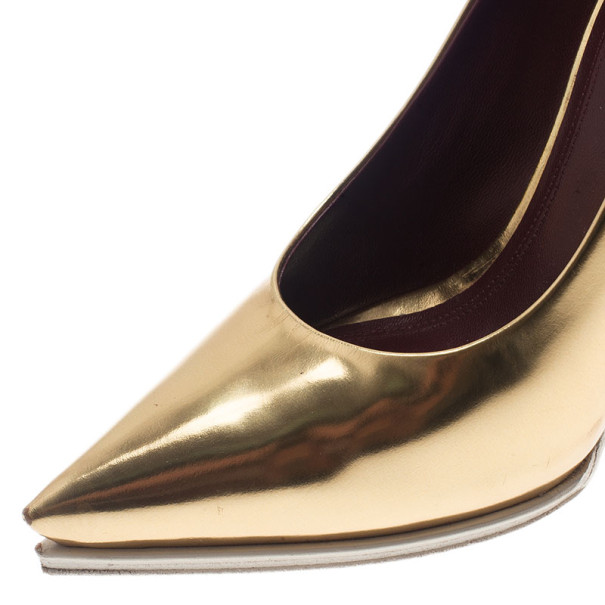 Celine Gold Leather Pointy Silhouette Pumps Size 37.5