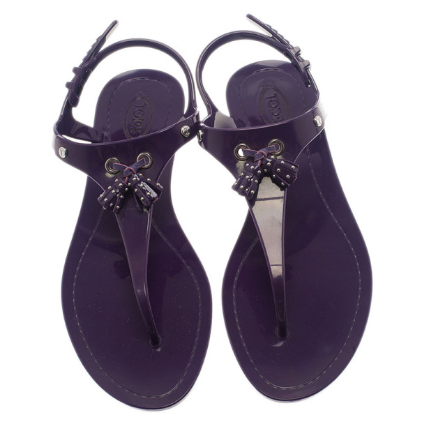 Tod's Purple Tassel Detail Thong Jelly Sandals Size 41