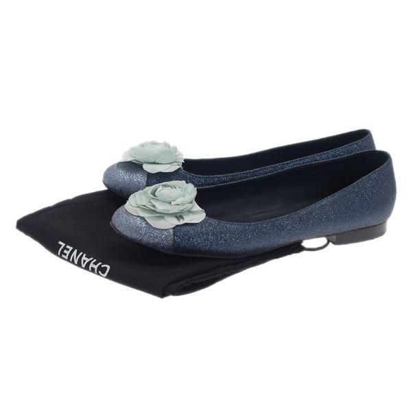 Chanel Glitter Cap Toe Camellia Flower Ballet Flats Size 41