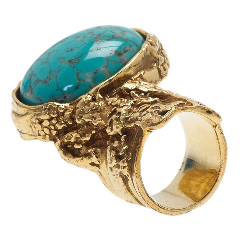 Saint Laurent Paris Gold Arty Ring Turquoise Stone Size 49
