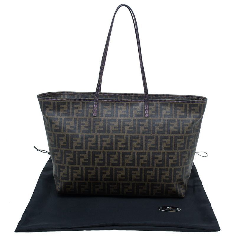 Fendi Brown Zucca Canvas Large Spalmati Roll Shopper Tote
