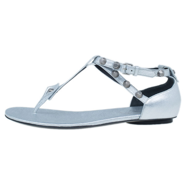 Balenciaga Silver Leather Classic Arena Thong Sandal Size 38