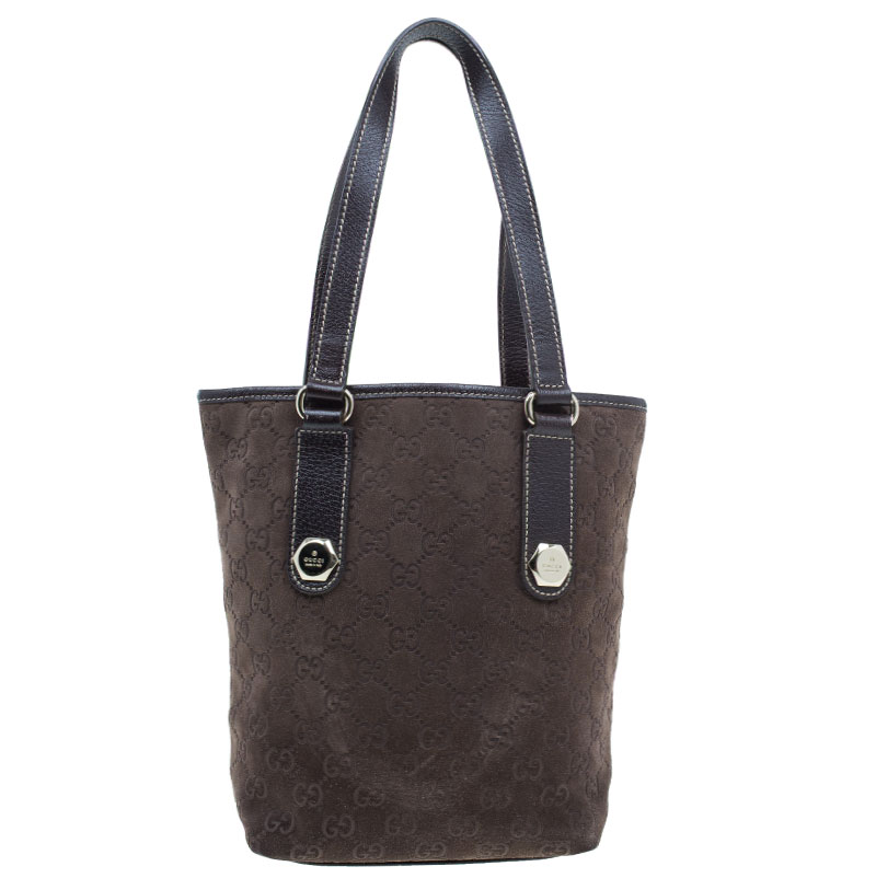 Gucci Brown Suede Small Charmy Tote