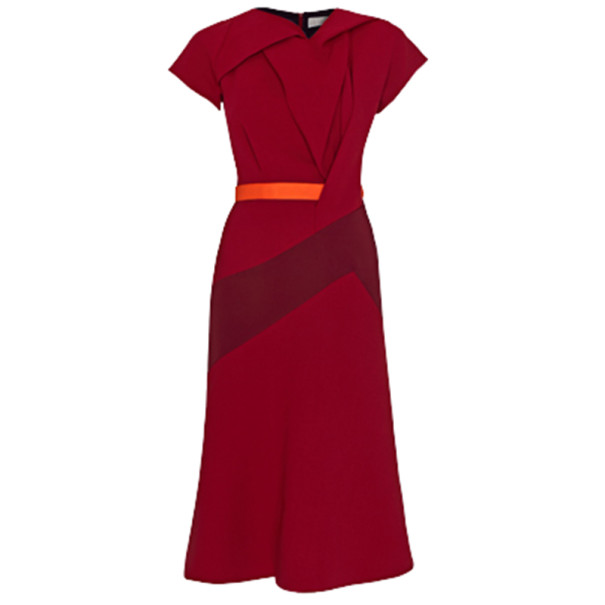 Peter Pilotto Burgundy Wool Midi Dress M