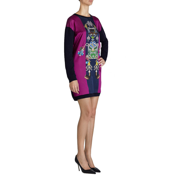 Mary Katrantzou Knipi Purple Sweater Dress M
