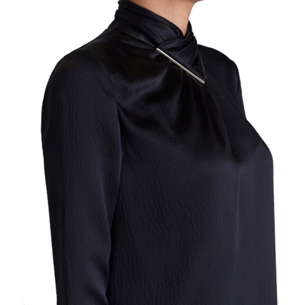 Jason Wu Black Hammered Silk Blouse M