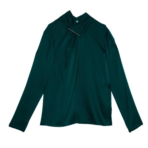 Jason Wu Green Hammered Silk Blouse M