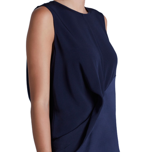 Prabal Gurung Navy Crepe Sleeveless Blouse S