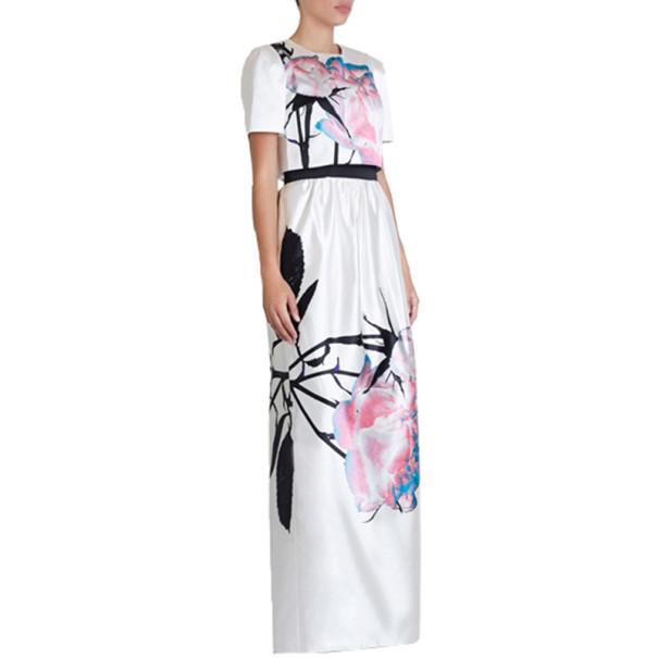 Prabal Gurung White Printed Cotton-Silk Cropped Top M