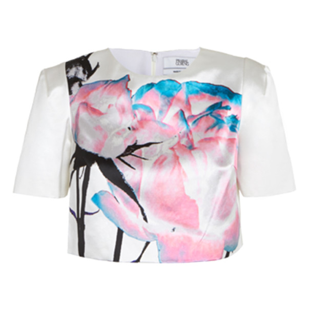 Prabal Gurung White Printed Cotton-Silk Cropped Top M