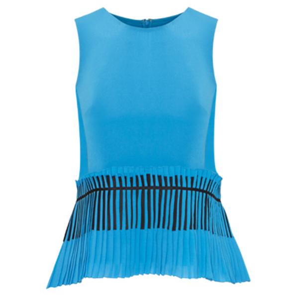Prabal Gurung Blue Sleeveless Peplum-Detailed Top M