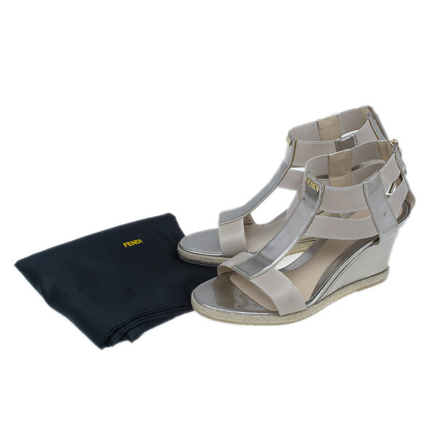 Fendi Metallic Leather T-Strap Espadrille Wedge Sandals Size 36