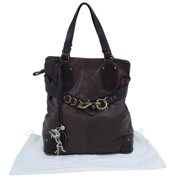 Chloe Brown Leather Large Kerala Horseshoe Charm Tote