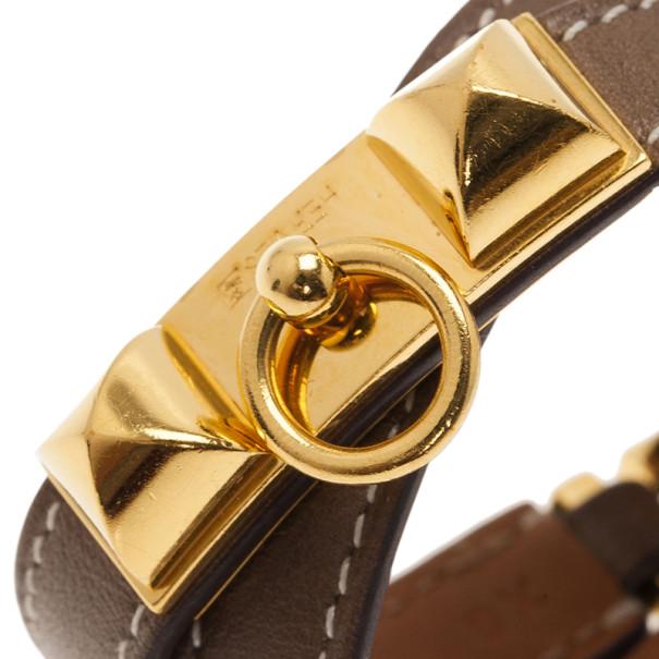 Hermes Rivale Double Tour Brown Leather Bracelet