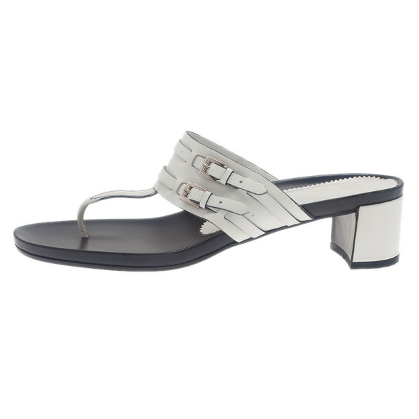 Prada White Leather Thong Sandals Size 41