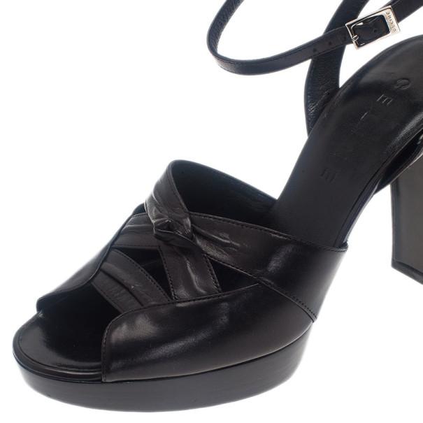 Celine Black Leather Ankle Strap Sandals Size 39