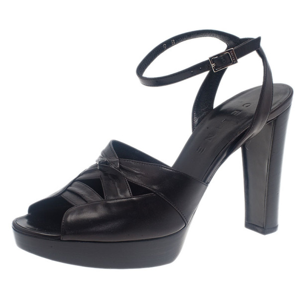 Celine Black Leather Ankle Strap Sandals Size 39